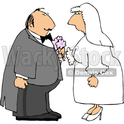 Caucasian Bride and Groom Getting Married Clipart © Dennis Cox #4336