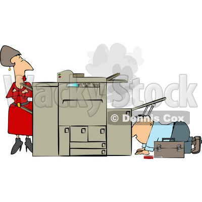 Businesswoman Watching a Repairman Fix Her Broken Photocopy Machine Clipart © djart #4339