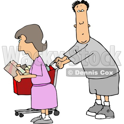 Husband and Wife Grocery Shopping Clipart © Dennis Cox #4342