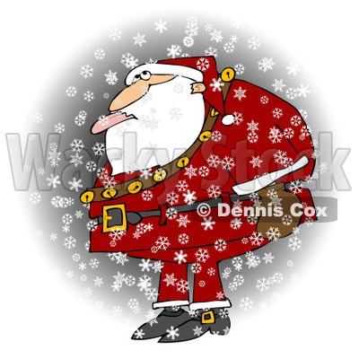 Royalty-Free (RF) Clipart Illustration of Santa Standing In The Snow And Catching A Snowflake With His Tongue © djart #434246