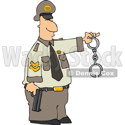 Policeman Holding a Pistol and Handcuffs Clipart © Dennis Cox #4345