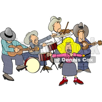 Country Western Band Playing Country Music Clipart © djart #4347