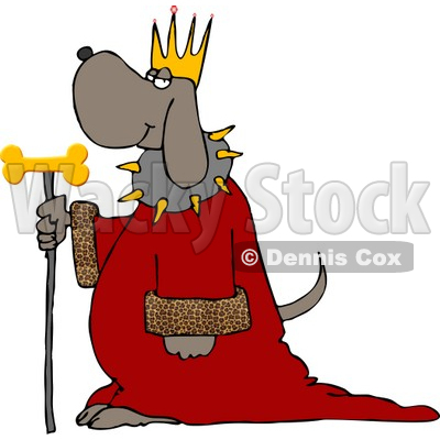 Dog Wearing King's Crown, Royal Red Robe, and Holding a Gold Milk-Bone Staff Clipart © djart #4358