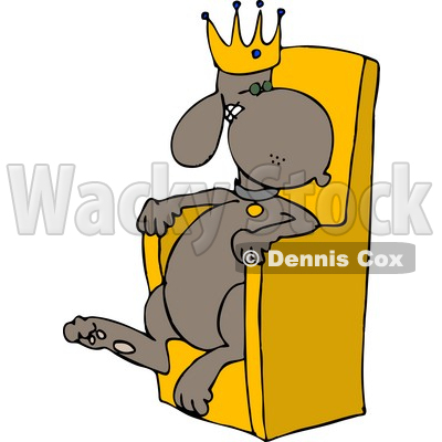 King Dog Wearing a Gold Crown and Sitting in a Golden Chair Clipart © djart #4359