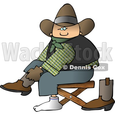 Cowboy Putting Boots On Feet Clipart © djart #4371