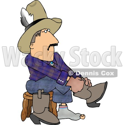 Holy Sock Cowboy Putting Boots On Feet Clipart © Dennis Cox #4375