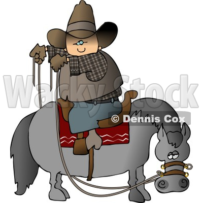 Cowboy Sitting On Horse Saddle Wrong While Holding Reins Clipart © djart #4381