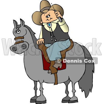 Cowboy Sitting On a Saddled Horse While Talking On a Cellphone Clipart © djart #4385