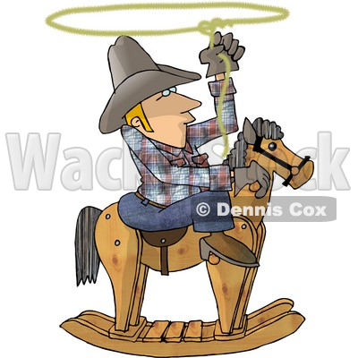 Young Cowboy Practicing the Are of Lassoing On the Back of a Rocking Horse Clipart © Dennis Cox #4386
