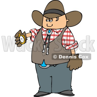 Cowboy Checking His Stopwatch Clipart © Dennis Cox #4389