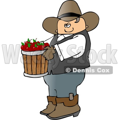 Cowboy Farmer Carrying a Bucket of Freshly Picked Red Apples Clipart © djart #4390