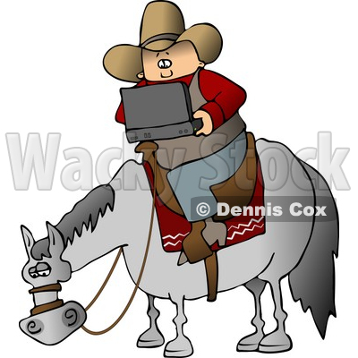 Portable Laptops on Cowboy Using A Portable  Wireless Laptop Computer While Sitting On A