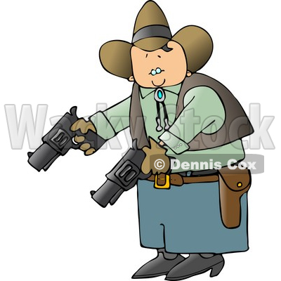 Cowboy Holding and Pointing Two Pistols Towards the Ground Clipart © djart #4392