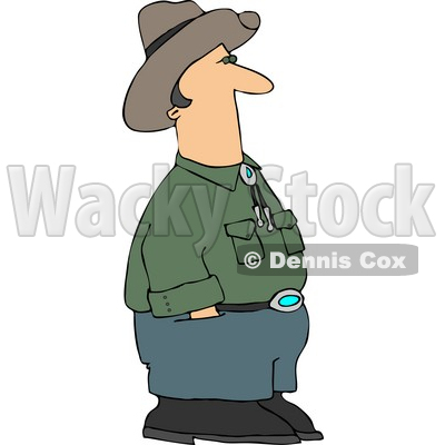 Cowboy Standing and Waiting with Hands In Pants Pockets Clipart © Dennis Cox #4394