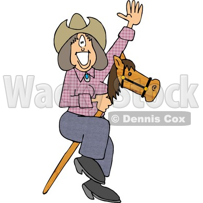 Happy, Smiley Cowgirl Riding a Toy Stick Horse Clipart © djart #4395