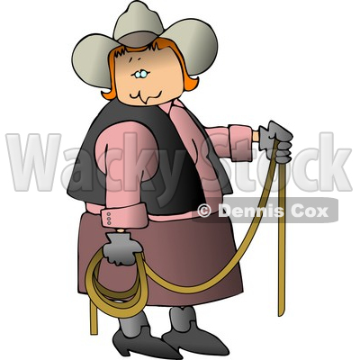 Redhead Cowgirl Holding a Lasso Rope Clipart © djart #4397