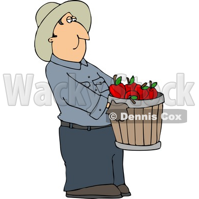 Cowboy Farmer Carrying a Pale of Freshly Picked Red Apples Clipart © djart #4399