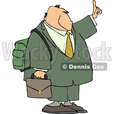 Traveling Businessman Trying to Get a Ride by Holding Hand Out Clipart © Dennis Cox #4404