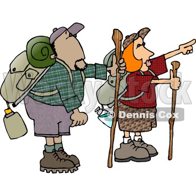 Male and Female Hikers Hiking with Backpacks, Canteens, Sleeping Bags, and Walking Sticks Clipart © djart #4406