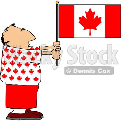 Patriotic Canadian Man Holding a Canadian Flag Clipart © Dennis Cox #4409