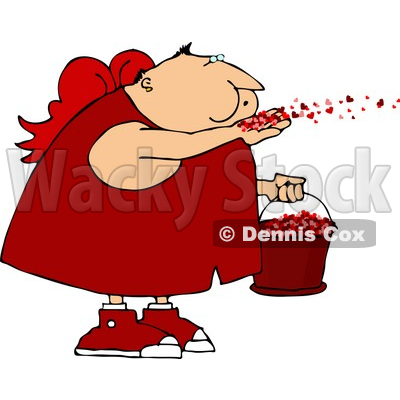 Saint Valentine's Day Cupid Blowing Love Hearts Into the Air Clipart © djart #4414