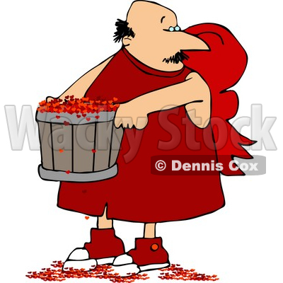 Valentine's Day Cupid Man Carrying a Bucket Full of Tiny Red Love Hearts Clipart © djart #4421