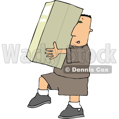 Delivery Man Carrying a Big Package/Box Clipart © djart #4425