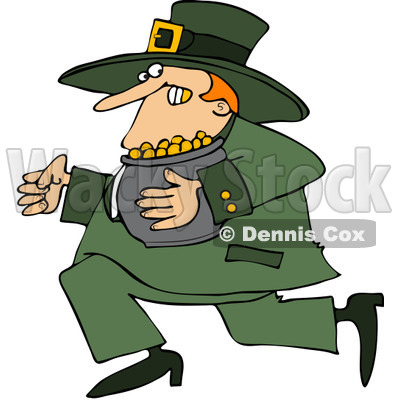 Royalty-Free (RF) Clip Art Illustration of a Leprechaun Running Away With His Gold © djart #442569