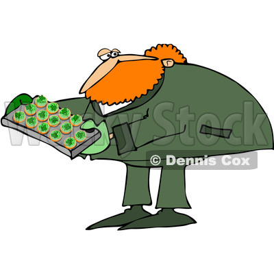 Royalty-Free (RF) Clip Art Illustration of a Leprechaun Making Cupcakes © Dennis Cox #442571