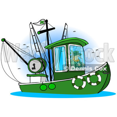 Royalty-Free (RF) Clip Art Illustration of a Leprechaun Steering A Fishing Boat © djart #442572