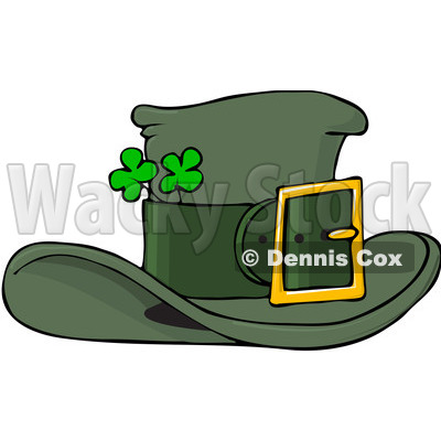 Royalty-Free (RF) Clip Art Illustration of a Green Leprechaun Hat With Shamrocks © djart #442575