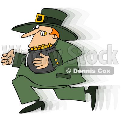 Royalty-Free (RF) Clip Art Illustration of a Leprechaun Running With His Gold © djart #442576