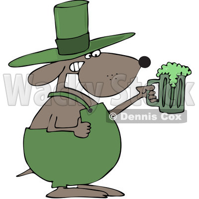 Royalty-Free (RF) Clip Art Illustration of a St Patricks Day Dog Holding A Green Beer © djart #442581