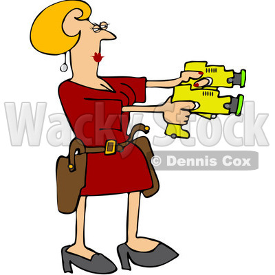 Royalty-Free (RF) Clip Art Illustration of a Blond Woman Drawing Two Taser Guns © djart #442590