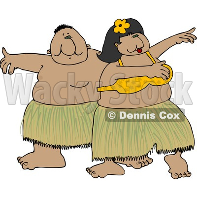 Hawaiian Man and Woman Hula Dancing Together In Hawaii Attire Clipart © djart #4426