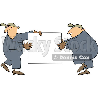 Royalty-Free (RF) Clip Art Illustration of Worker Men Carrying A Blank Sign © djart #442600