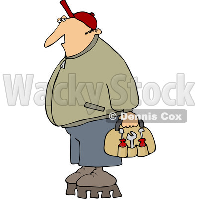 Royalty-Free (RF) Clip Art Illustration of a Worker Man Wearing Shoes With Tall Soles © djart #442606