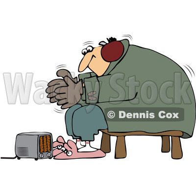 Royalty-Free (RF) Clip Art Illustration of a Cold Man Wearing Bunny Slippers And Muffs By A Space Heater © djart #442617