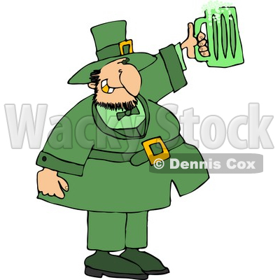 Saint Patrick's Day Irish Man Holding a Green Beer Mug Clipart © Dennis Cox #4428
