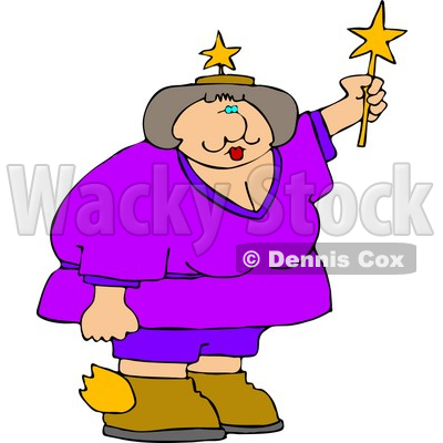 Obese Fairy Holding a Star Wand Clipart © Dennis Cox #4429