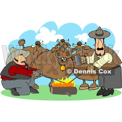 Male Ranchers Heating Branding Irons In a Campfire Beside Their Cattle Clipart © Dennis Cox #4430