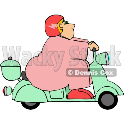 Obese/Fat Woman Driving a Scooter Moped Clipart © djart #4431