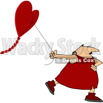 Valentine's Day Man Flying a Heart-shaped Kite Clipart © djart #4443