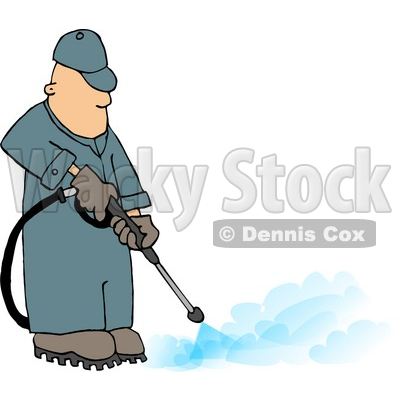 Professional Male Pressure Washer Spraying the Ground with Water Clipart © djart #4453
