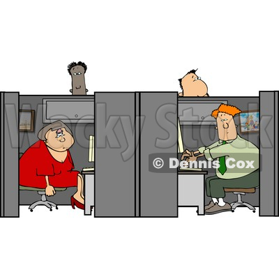 Customer Service People Working in Their Cubicles Clipart © djart #4471