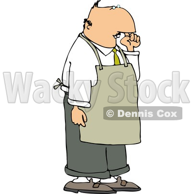Restaurant Food Handler Wearing an Apron and Picking His Nose for Boogers Clipart © djart #4472