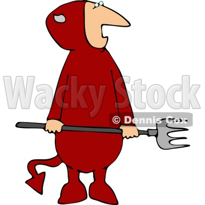 Evil Halloween Devil Wearing a Costume and Holding a Pitchfork Clipart © djart #4482