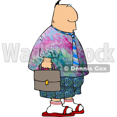 Businessman Wearing Colorful Hippie Clothing To His Work On