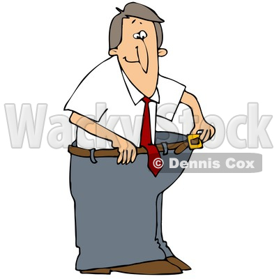Clipart Illustration of a Skinny Man Wearing His Fat Pants, Holding The Belt Away From His Waist © djart #45027