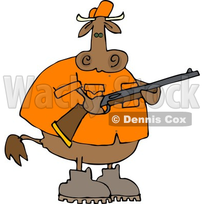 Male Cow Hunter Holding a Hunting Rifle Clipart © djart #4518